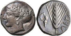LUCANIA. Metapontion. Circa 400-340 BC. Didrachm or Nomos (Silver, 19 mm, 7.62 g, 7 h), unsigend dies by Aristoxenos. Female head to left, wearing amp...