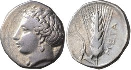 LUCANIA. Metapontion. Circa 400-340 BC. Didrachm or Nomos (Silver, 21 mm, 7.90 g, 7 h). Head of Demeter to left, wearing pendant earring. Rev. META Ba...