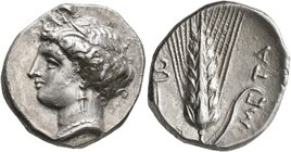 LUCANIA. Metapontion. Circa 340-330 BC. Didrachm or Nomos (Silver, 22 mm, 7.87 g, 10 h). Head of Demeter to left, wearing wreath of barley ears, penda...
