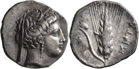 LUCANIA. Metapontion. Circa 340-330 BC. Didrachm or Nomos (Silver, 22 mm, 7.75 g, 6 h). Head of Demeter to right, wearing wreath of grain ears, pendan...