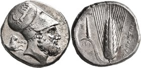 LUCANIA. Metapontion. Circa 340-330 BC. Distater (Silver, 26 mm, 15.83 g, 12 h). Bearded head of Leukippos to right, wearing Corinthian helmet decorat...