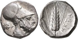 LUCANIA. Metapontion. Circa 340-330 BC. Didrachm or Nomos (Silver, 20 mm, 7.84 g, 6 h). Bearded head of Leukippos to right, wearing Corinthian helmet;...