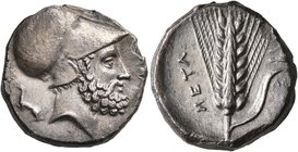 LUCANIA. Metapontion. Circa 340-330 BC. Didrachm or Nomos (Silver, 20 mm, 7.88 g, 10 h). [ΛEYKIΠΠOΣ] Bearded head of Leukippos to right, wearing Corin...