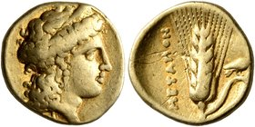 LUCANIA. Metapontion. Time of Alexander the Molossian, circa 334-331/0 BC. Tetrobol or Third Stater (Gold, 13 mm, 2.59 g, 10 h), Achaian standard. Hea...
