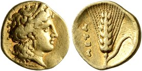 LUCANIA. Metapontion. Time of Alexander the Molossian, circa 334-331/0 BC. Diobol or Sixth Stater (Gold, 11 mm, 1.29 g, 9 h), Achaian standard. Head o...