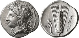LUCANIA. Metapontion. Circa 330-290 BC. Didrachm or Nomos (Silver, 22 mm, 7.89 g, 6 h). Head of Demeter to left, wearing wreath of grain ears, triple ...