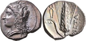 LUCANIA. Metapontion. Circa 330-290 BC. Didrachm or Nomos (Silver, 22 mm, 7.92 g, 2 h), Atha..., magistrate. Head of Demeter to left, wearing wreath o...