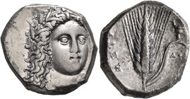 LUCANIA. Metapontion. Circa 330-290 BC. Didrachm or Nomos (Silver, 20 mm, 7.80 g, 1 h). Head of Demeter facing slightly to the right, wearing wreath o...