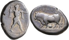 LUCANIA. Poseidonia. Circa 420-410 BC. Stater (Silver, 22 mm, 7.66 g, 2 h). [ΠΟMES] Poseidon striding to right, his left arm outstretched, brandishing...