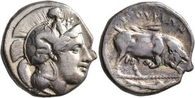 LUCANIA. Thourioi. Circa 400-350 BC. Didrachm or Nomos (Silver, 21 mm, 7.51 g, 6 h). Head of Athena to right, wearing crested Attic helmet adorned, on...