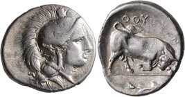 LUCANIA. Thourioi. Circa 400-350 BC. Didrachm or Nomos (Silver, 23 mm, 7.94 g, 10 h). Head of Athena to right, wearing crested Attic helmet adorned, o...