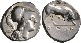 LUCANIA. Thourioi. Circa 280-213 BC. Didrachm or Nomos (Silver, 20 mm, 6.20 g, 6 h). Head of Athena to right, wearing crested Corinthian helmet. Rev. ...