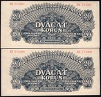 Czechoslovakia Lot of 2 Banknotes with Consecutive Numbers