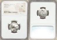 LUCANIA. Heraclea. Ca. 330-280 BC. AR stater. NGC VF. ΗΕPΑΚΛΗΙΩΝ, head of Athena right, wearing Corinthian helmet pushed back on head, bowl decorated ...