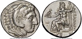 MACEDONIAN KINGDOM. Alexander III the Great (336-323 BC). AR tetradrachm (26mm, 17.04 gm, 6h). NGC Choice AU 5/5 - 4/5. Late lifetime or early posthum...