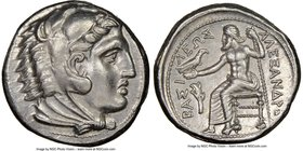 MACEDONIAN KINGDOM. Alexander III the Great (336-323 BC). AR tetradrachm (25mm, 16.99 gm, 4h). NGC Choice AU 5/5 - 4/5. Early posthumous issue of 'Amp...