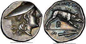 AETOLIAN LEAGUE. Ca. 250-145 BC. AR triobol (15mm, 3h). NGC Choice XF, Fine Style. Ca. 250 BC. Head of Aetolia or Atalanta to right, wearing petasus /...