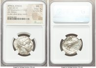 ATTICA. Athens. Ca. 440-404 BC. AR tetradrachm (25mm, 17.21 gm, 1h). NGC MS 4/5 - 4/5. Mid-mass coinage issue. Head of Athena right, wearing crested A...