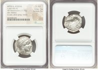 ATTICA. Athens. Ca. 440-404 BC. AR tetradrachm (23mm, 17.18 gm, 7h). NGC Choice AU 4/5 - 5/5. Mid-mass coinage issue. Head of Athena right, wearing cr...