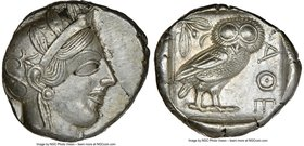 ATTICA. Athens. Ca. 440-404 BC. AR tetradrachm (25mm, 17.18 gm, 7h). NGC AU 5/5 - 4/5. Mid-mass coinage issue. Head of Athena right, wearing crested A...