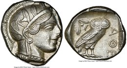 ATTICA. Athens. Ca. 440-404 BC. AR tetradrachm (25mm, 17.19 gm, 9h). NGC AU 4/5 - 5/5. Mid-mass coinage issue. Head of Athena right, wearing crested A...