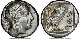 ATTICA. Athens. Ca. 440-404 BC. AR tetradrachm (24mm, 17.17 gm, 6h). NGC AU 4/5 - 4/5. Mid-mass coinage issue. Head of Athena right, wearing crested A...