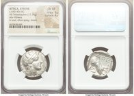 ATTICA. Athens. Ca. 440-404 BC. AR tetradrachm (24mm, 17.14 gm, 10h). NGC Choice XF 5/5 - 4/5. Mid-mass coinage issue. Head of Athena right, wearing c...