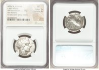 ATTICA. Athens. Ca. 440-404 BC. AR tetradrachm (24mm, 17.18 gm, 9h). NGC XF 5/5 - 4/5. Mid-mass coinage issue. Head of Athena right, wearing crested A...