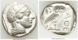 ATTICA. Athens. Ca. 440-404 BC. AR tetradrachm (24mm, 17.18 gm, 4h). XF, graffiti. Mid-mass coinage issue. Head of Athena right, wearing crested Attic...