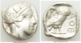 ATTICA. Athens. Ca. 440-404 BC. AR tetradrachm (24mm, 17.12 gm, 6h). About XF. Mid-mass coinage issue. Head of Athena right, wearing crested Attic hel...