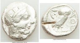 ATTICA. Athens. Ca. 440-404 BC. AR tetradrachm (26mm, 17.56 gm, 3h). Fine, test cuts. Mid-mass coinage issue. Head of Athena right, wearing crested At...
