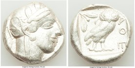 ATTICA. Athens. Ca. 440-404 BC. AR tetradrachm (24mm, 17.13 gm, 9h). About VF. Mid-mass coinage issue. Head of Athena right, wearing crested Attic hel...