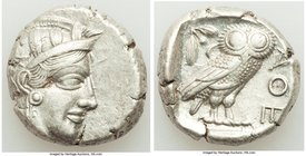 ATTICA. Athens. Ca. 440-404 BC. AR tetradrachm (24mm, 17.16 gm, 10h). XF. Mid-mass coinage issue. Head of Athena right, wearing crested Attic helmet o...