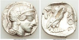 ATTICA. Athens. Ca. 440-404 BC. AR tetradrachm (25mm, 17.15 gm, 3h). XF, test cut. Mid-mass coinage issue. Head of Athena right, wearing crested Attic...