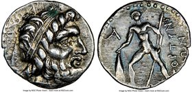 CRETE. Gortyna. Ca. early-1st century BC. AR drachm (17mm, 12h). NGC XF. Ca. 98/6-94 BC. Diademed head of Zeus right, A below / ΓOPTYNI/ΩN, nude warri...