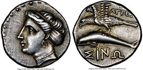 PAPHLAGONIA. Sinope. Ca. late 4th century BC. AR drachm (18mm, 5h). NGC Choice XF S. Ca. 330-300 BC. Agre-, magistrate. Head of nymph left, wearing tr...