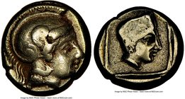 LESBOS. Mytilene. Ca. 412-378 BC. EL sixth-stater or hecte (11mm, 2.51 gm, 8h). NGC VF 4/5 - 4/5. Head of Athena right wearing crested Attic helmet wi...