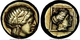LESBOS. Mytilene. Ca. 377-326 BC. EL sixth-stater or hecte (10mm, 2.56 gm, 12h). NGC XF 4/5 - 3/5, light scratches. Laureate head of Apollo (Dionysus?...