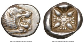 IONIA. Miletus. Ca. late 6th-5th centuries BC. AR obol or 1/12 stater (10mm). NGC XF. Milesian standard. Forepart of roaring lion left, head reverted ...