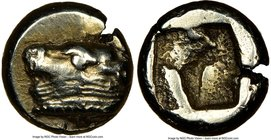 IONIA. Phocaea. Ca. 521-478 BC. EL sixth-stater or hecte (10mm, 2.54 gm). NGC XF 4/5 - 4/5. Head bull left wearing collar with row of pearls; seal swi...