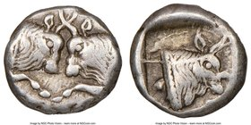 CARIA. Uncertain mint. Ca. 450-400 BC. AR obol (10mm, 5h). NGC VF S. Milesian standard. Confronted foreparts of two bulls, each with extended foreleg ...