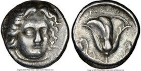 CARIAN ISLANDS. Rhodes. Ca. 305-275 BC. AR didrachm (19mm, 12h). NGC VF. Head of Helios facing, turned slightly right, hair parted in center and swept...