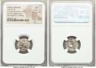 LYCIAN LEAGUE. Cragus. Ca. 48-20 BC. AR hemidrachm (17mm, 1.99 gm, 1h). NGC MS 5/5 - 4/5. Series 1. Laureate head of Apollo right; Λ-Y below / K-P, ci...