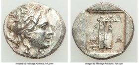 LYCIAN LEAGUE. Masicytes. Ca. 48-20 BC. AR hemidrachm (14mm, 2.14 gm, 12h). XF. Series 1. Laureate head of Apollo right; Λ-Y below / M-A, cithara (lyr...
