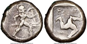 PAMPHYLIA. Aspendus. Ca. mid-5th century BC. AR stater (19mm, 5h). NGC Choice Fine. Helmeted nude hoplite warrior advancing right, shield in left hand...