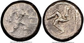 PAMPHYLIA. Aspendus. Ca. mid-5th century BC. AR stater (20mm, 5h). NGC Choice Fine. Helmeted nude hoplite warrior advancing right, shield in left hand...