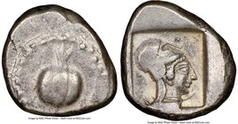 PAMPHYLIA. Side. Ca. 5th century BC. AR stater (22mm, 10.92 gm, 9h). NGC Choice VF 4/5 - 4/5. Ca. 430-400 BC. Pomegranate; guilloche beaded border / H...