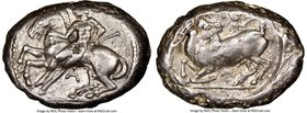 CILICIA. Celenderis. Ca. 425-350 BC. AR stater (22mm, 6h). NGC Choice VF. Persic standard, ca. 425-400 BC. Youthful nude male rider, reins in right ha...