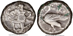 CILICIA. Mallus. Ca. 440-385 BC. AR stater (20mm, 11.03 gm, 9h). NGC Choice VF 4/5 - 3/5. Bearded winged male in kneeling/running stance left, holding...