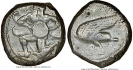 CILICIA. Mallus. Ca. 440-385 BC. AR stater (20mm, 5h). NGC VF. Bearded winged male in kneeling/running stance left, holding solar disk with both hands...